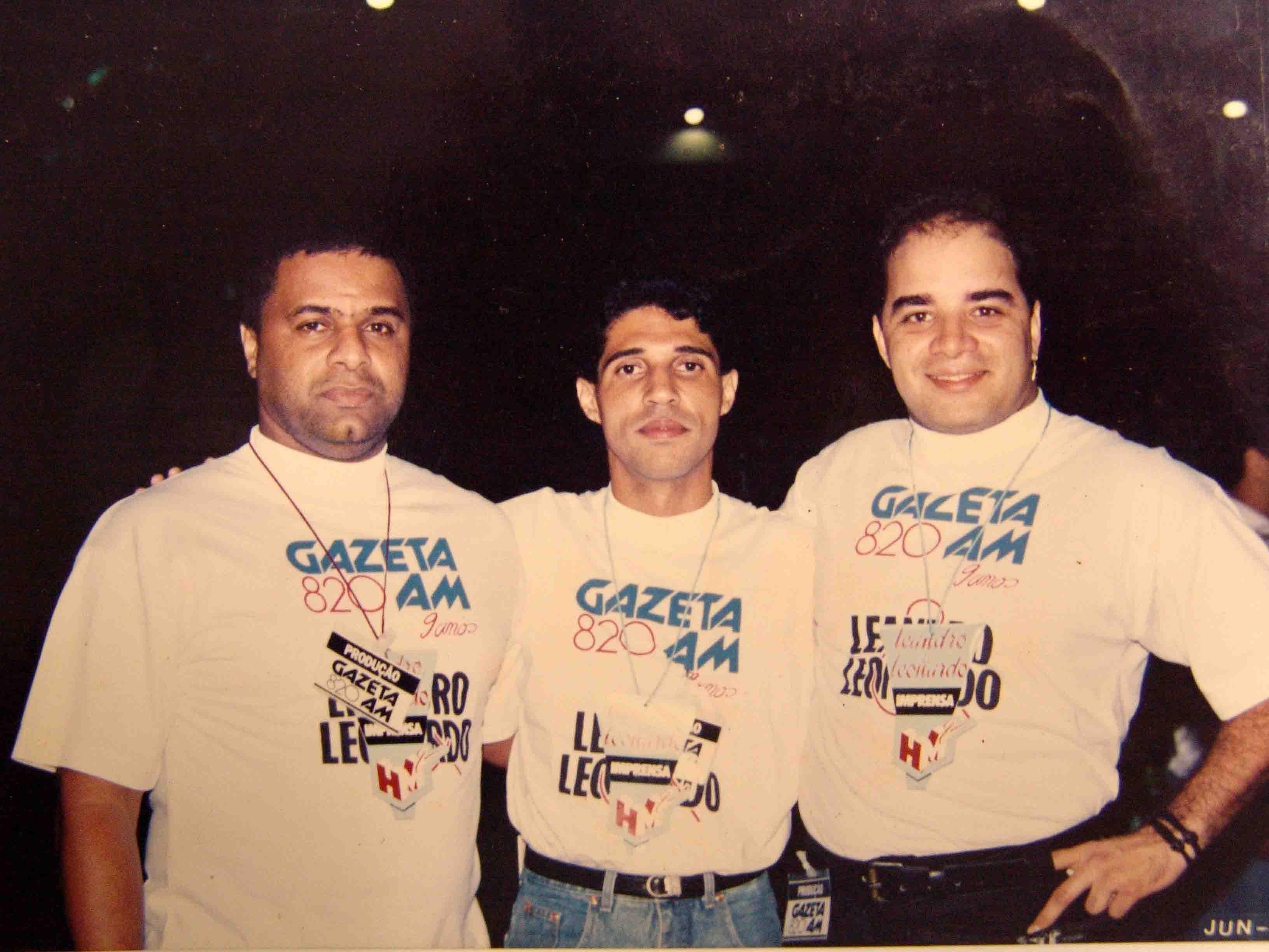 DJ Badu, Jorge Félix e Fábio Pirajá - Show de Leandro e Leonardo - Clube Álvares Cabral - junho de 92