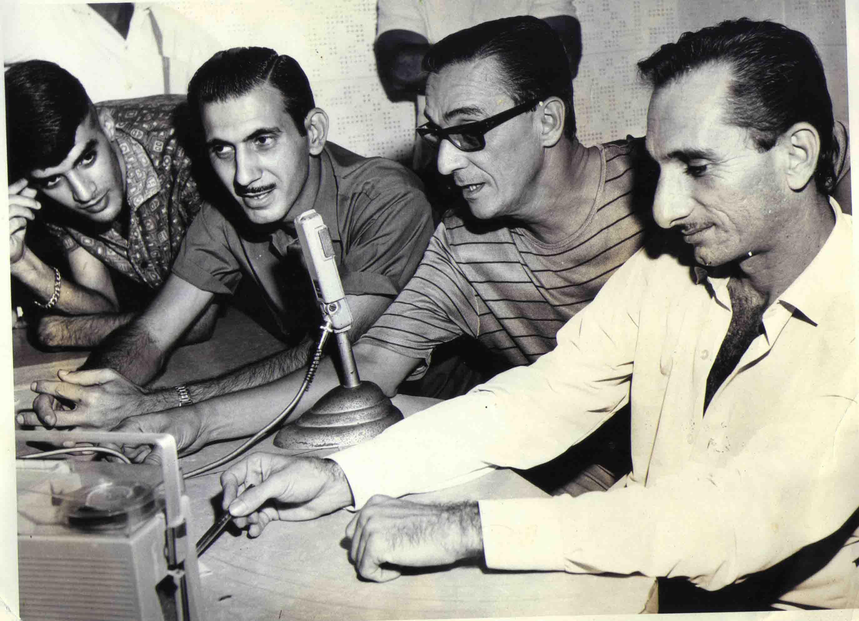 José Roberto Mignoni, Sabra Abdalah, Hélio Grace e Wilson Lopes na Rádio Cachoeiro AM - final dos anos 60