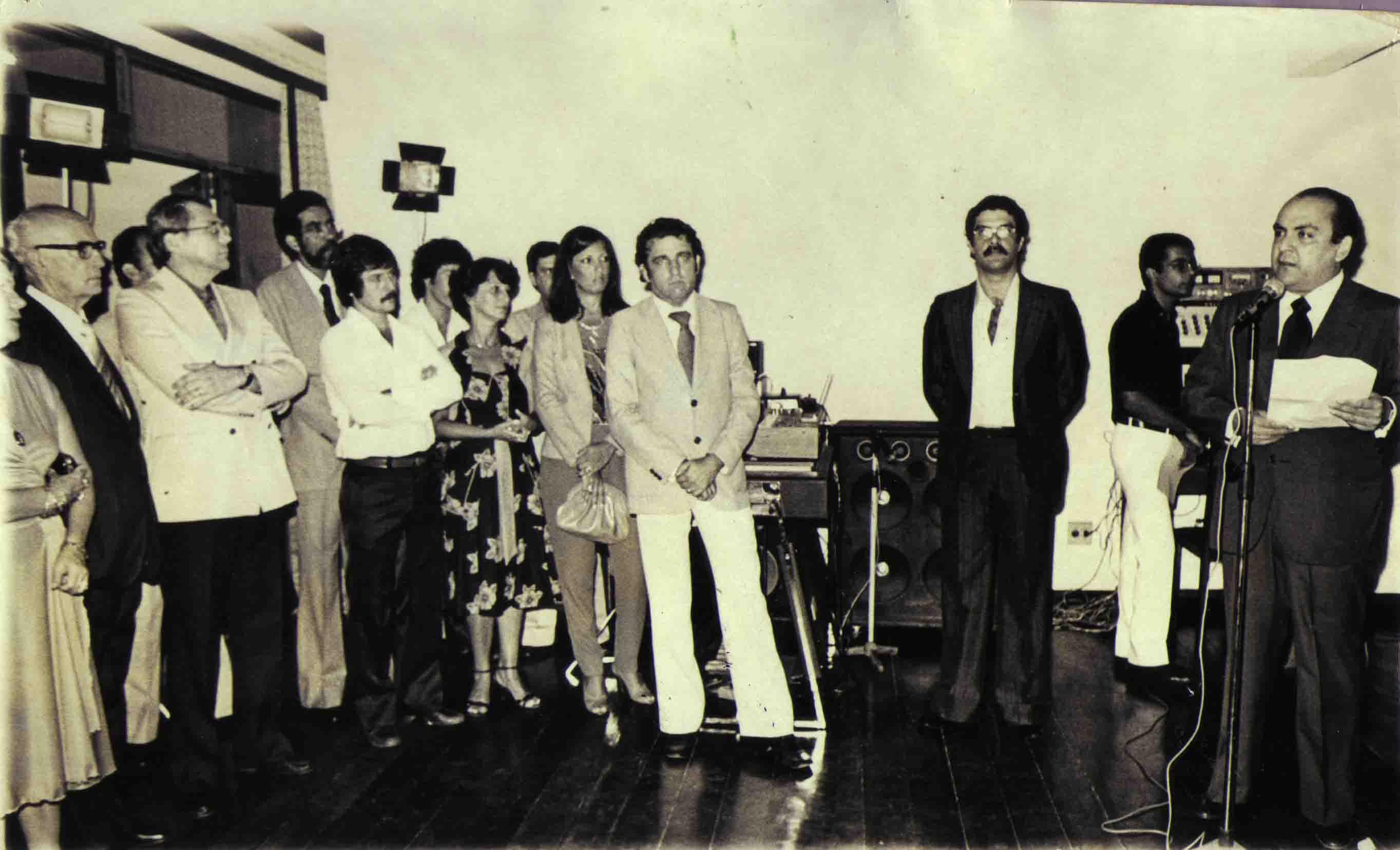 João Calmon, José Roberto Mingnoni, Adilson Paixão, João Santos - Inauguração da Rádio Tribuna FM em 27 de março de 1981