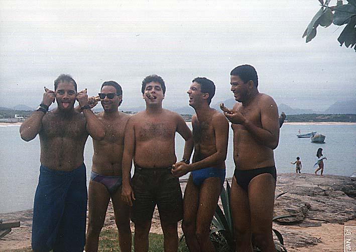 Fábio Pirajá, Andesen Dourado, Volney Rocha, Vander Luís e Carlinhos Benfica - Praia de Guaibura 1991