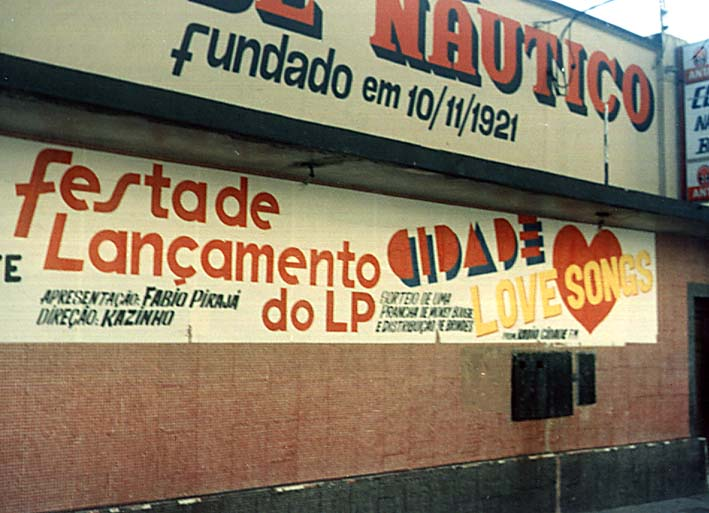 Festa de Lançamento do LP Cidade Love Songs de Fábio Pirajá - Clube Náutico Brasil - 1990