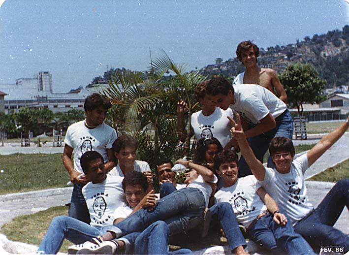 Fábio Pirajá, Marcelo Cabeção, Celeide, Eltinho, Demétrios, Maurão, Bruno Malizeki, Bocão - Salesiano - Turma Rebelde 1981